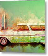 57 Chevy Nomad Wagon Blowing Beach Sand Metal Print