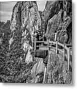 5807- Yellow Mountains Black And White Metal Print