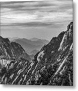 5818- Yellow Mountains Black And White Metal Print