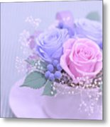 A Gift Of Preservrd Flower And Clay Flower Arrangement, Blue And Metal Print