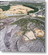 Aerial View Over The Building Materials Processing Factory.  Metal Print