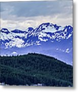 Alaska Nature And Mountain In June At Sunset Metal Print