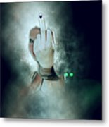 An Obscene Hand Sign Metal Print