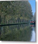 Barge On Burgandy Canal Metal Print