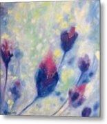 6 Blue Flowers In Breeze Metal Print