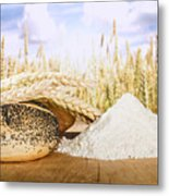 Bread And Wheat Cereal Crops Metal Print