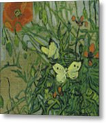 Butterflies And Poppies Metal Print