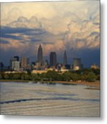 Cleveland Skyline From A Distant Park Metal Print