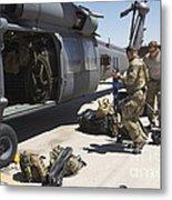 Hh-60g Pave Hawk With Pararescuemen Metal Print
