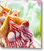 Italian Gelato Gelatto Ice Cream Display In Shop Metal Print