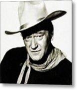 John Wayne, Vintage Actor By Js Metal Print