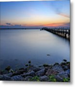 Melbourne Beach Pier Sunset Metal Print