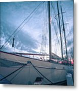Newport Rhode Island Harbor With Tall Ships At Sunset Metal Print