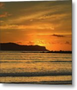 Orange Sunrise Seascape Metal Print