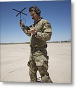 Pararescuemen Conducts A Communications Metal Print