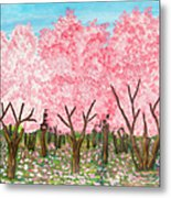 Pink Garden, Oil Painting Metal Print