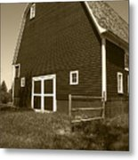 Barn And Wild Flowers Sepia Metal Print