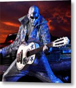 Silver Elvis Metal Print