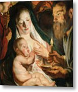 The Holy Family With Shepherds Metal Print
