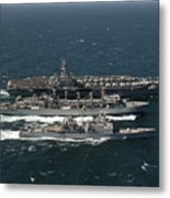 Underway Replenishment At Sea With U.s Metal Print