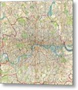 Vintage Map Of London England  Metal Print