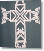White Butterfly-cross Metal Print