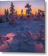 Winter Evening Landscape With Forest, Sunset And Cloudy Sky.  Metal Print