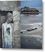 Woman In Ash And Blue Body Paint Metal Print