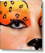 Young Female Model With Make Up Mask Metal Print