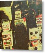 60s Cartoon Character Robots Metal Print