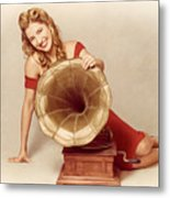 60s Pin Up Girl With Vintage Record Phonograph Metal Print