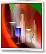 643  Still Life  With Bottles And  Cups  V  Metal Print