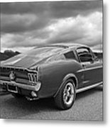 67 Fastback Mustang In Black And White Metal Print