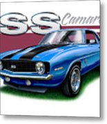 69 Camaro Ss In Blue Metal Print