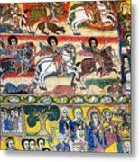 Ancient Orthodox Church Interior Painted Walls In Gondar Ethiopi Metal Print