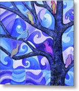 7 Birds On A Tree Metal Print
