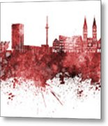 Bremen Skyline In Watercolor Background Metal Print