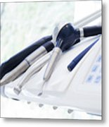 Equipment And Dental Instruments In Dentist's Office Metal Print