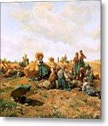 Peasants Lunching In A Field Daniel Ridgway Knight Metal Print