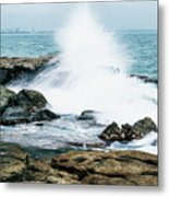 Rocks And Waves At Point Cartwright  Metal Print