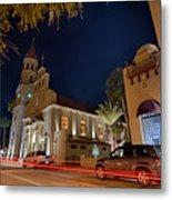 St Augustine City Street Scenes Atnight Metal Print
