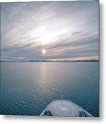 Sunset Over Alaska Fjords On A Cruise Trip Near Ketchikan Metal Print