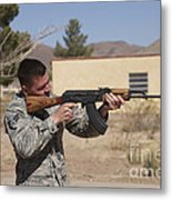 U.s. Soldier Conducts A Combat Training Metal Print