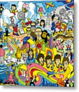 70 illustrated Beatles' song titles Metal Print