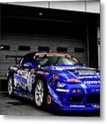 7763 Nissan Tuning Race Cars Blue Cars Selective Coloring Metal Print