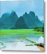 Karst Rural Scenery In Raining Metal Print