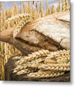 Bread And Wheat Cereal Crops. Metal Print