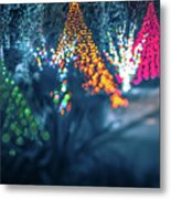 Christmas Season Decorationsafter Sunset At The Gardens Metal Print