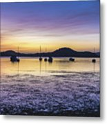 Dawn Waterscape Over The Bay With Boats Metal Print