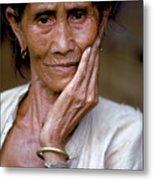 Elderly Woman In Laos Metal Print